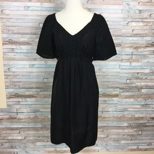 Banana Republic 100% silk black eyelet dress